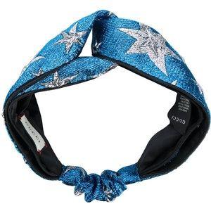 Blue Metallic Stars Gucci Turban Headband